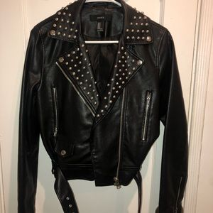Vegan Leather Studded Jacket